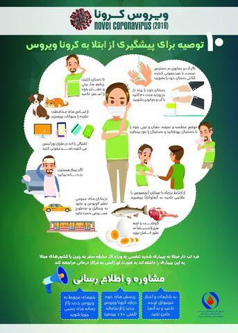پوستر/ 10 توصیه برای پیشگیری از ابتلا به کرونا ویروس