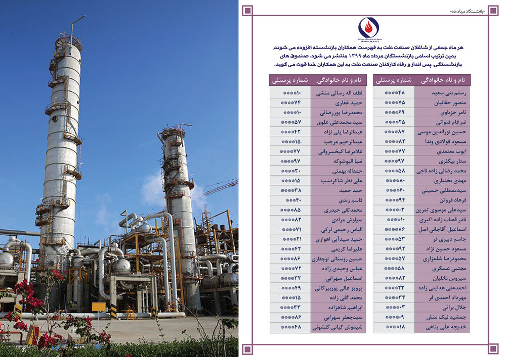 تبریک و خداقوت به بازنشستگان مرداد ماه ۹۹ صنعت نفت