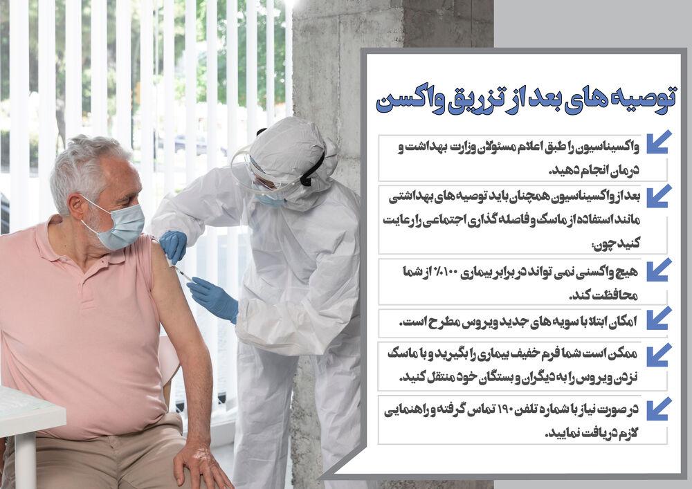 توصیه هایی بعد از تزریق واکسن